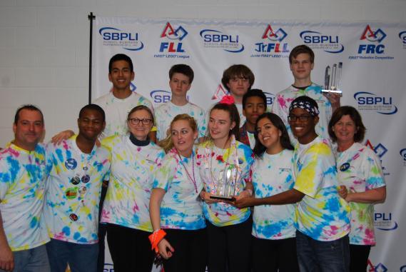 "CAPTION: The Bridgehampton High School FIRST Robotics Team #5659 ""Team Supreme"" was a subdivision finalist at the FIRST Championship in St. Louis, Missouri on April 22-25."