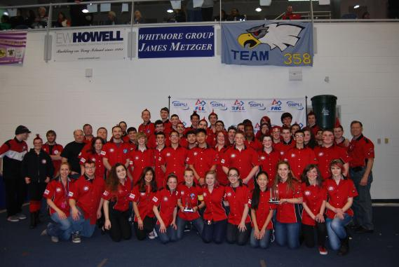 "CAPTION: The Patchogue-Medford High School FIRST Robotics Team #329 ""Raiders"" received the Team Spirit Award at the FIRST Championship in St. Louis, Missouri on April 22-25."