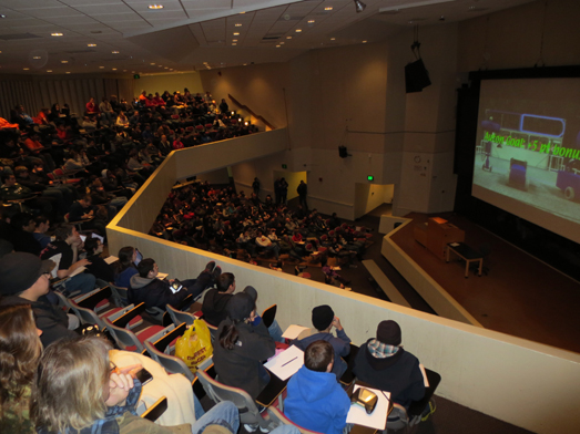 "Students learn the rules of the new game, ""Aerial AssistSM"" at the FIRST Robotics season kickoff, held at Stony Brook University's Jacob Javits Lecture Center on January 4"