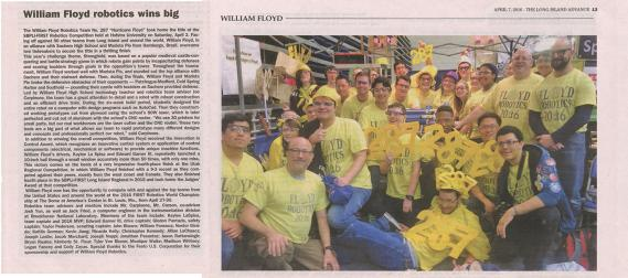 Wm. Floyd H.S First Robotics Competition Win